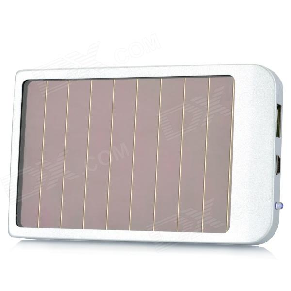 P1100 Solar Powered 2600mAh External Battery Pack w/ Adapters for Cell Phone + More - Silver