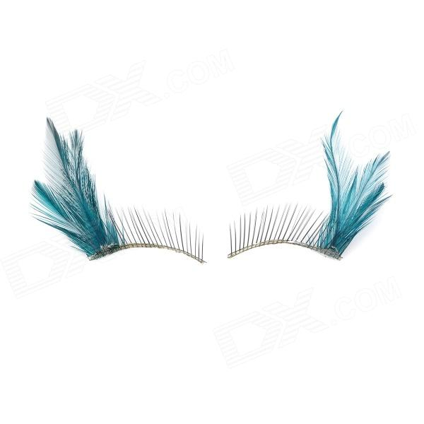Feather Style Makeup Fake Eyelashes - Green + Black (1 Pair)