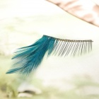 Feather Style Makeup Artificial Eyelashes - Green + Black (1 Pair)