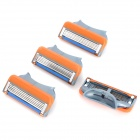 Replacement Steel Shaver Heads for Manual Razor - Grey + Orange + Blue (4 PCS)