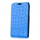 Alligator Pattern Protective Top Flip-Open PU Leather Case for Samsung i9300 Galaxy S3 - Blue