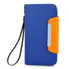 Protective Flip-Open PU Leather Case for Samsung i9300 Galaxy S3 - Blue + Orange