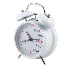 Stylish Twin Bells Alarm Clock - White + Black (1 x AA)