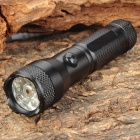 Mini 30LM White 7-LED Water Resistant Flashlight w/ Red Laser Light - Black (1 x AA)