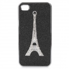 Eiffel Tower Pattern Protective PC Back Case w/ Diamond for Iphone 4 / 4S - Black + Silver