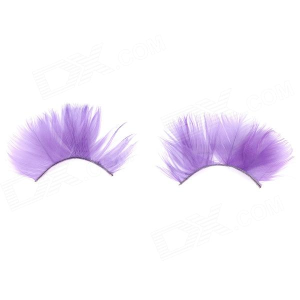 Feather Style Makeup Artificial Eyelashes - Purple (1 Pair)