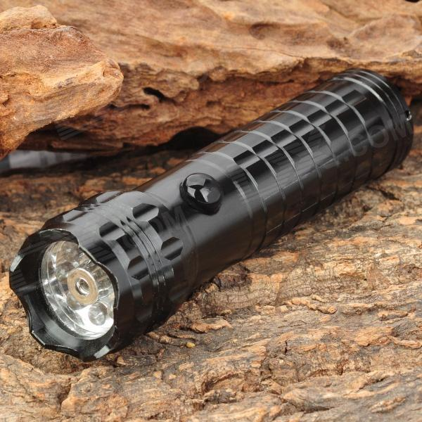 Stylish 30LM White 8-LED Water Resistant Flashlight w/ Red Laser Light - Black (3 x AAA) mini 8 led 30lm white light flashlight w 5mw red laser black 3 x aaa