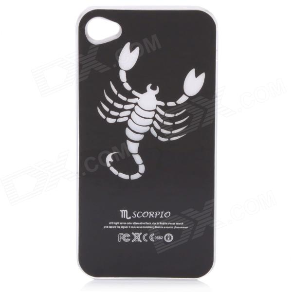 Scorpion Pattern Protective Plastic Back Case w/ 7 Color LED Lights for Iphone 4 / 4S - Black plastic back case w calling 7 color flash contract switch for iphone 4 4s pink black
