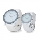 Fashion Couple's PU Leather Band Analog + Digital Quartz Waterproof Wrist Watch - White (2 PCS)