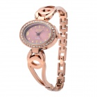 Fashion Woman's Alloy Analog + Digital Quartz Waterproof Wrist Watch - Bronze (1 x 377)