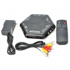 4-Port Composite/S-Video AV Media Switch Box Source Selector with IR Remote (110~240V AC)