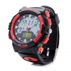 Pasnew Sports Analog + Digital Quartz Water Resistant Wrist Watch - Black + Red (3V R2016)