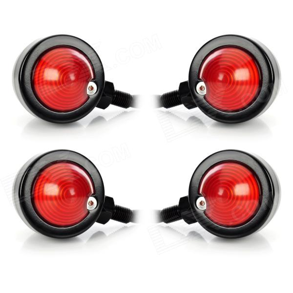 10W 1-Common Bulb Yellow Light Retro Motorcycle Steering Lamp - Black + Red (12V / 30cm / 4 PCS) about 30cm yellow