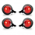 10W 1-Common Bulb Yellow Light Retro Motorcycle Steering Lamp - Black + Red (12V / 30cm / 4 PCS)