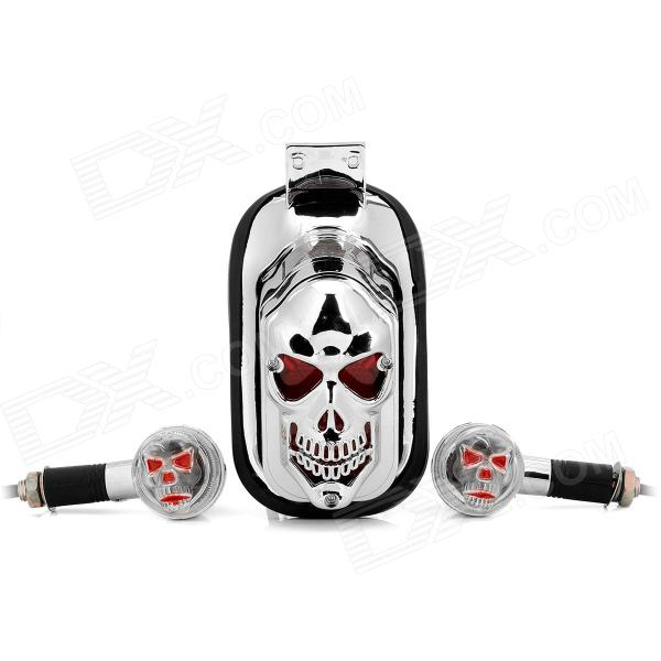 DIY Skull Head Style Tail Light + Steering lamp Set for Motorcycle (12V) skull head style 1w 4 led 60lm yellow light motorcycle steering lamps silver 12v