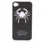 Crab Pattern Protective Plastic Back Case w/ 7 Color LED Lights for iPhone 4 / 4S - Black