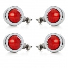 10W 1-Common Bulb Yellow Light Retro Motorcycle Steering Lamp - Silver + Red (12V / 20cm / 4 PCS)