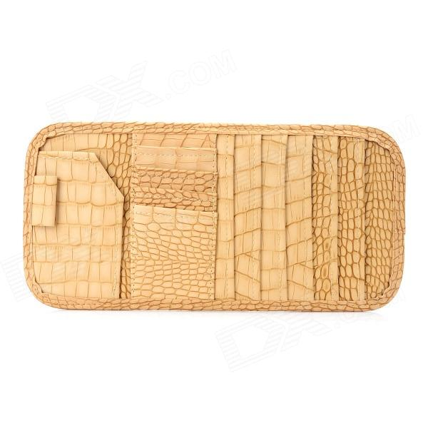 Fashion Crocodile Skin Pattern PU Leather Hanging Type CD DVD Card Case Holder - Beige цена и фото