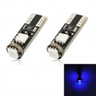T10 1W 100lm 3-SMD 5050 LED Blue Light Decode Car Tail Lamp (12V / Pair)