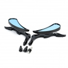 Flame Shaped Backup Rearview Mirrors for Motorcycle - Black + Blue (Pair)