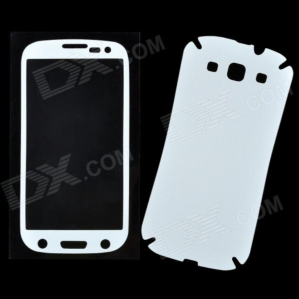 Protective PVC Front + Back Screen Protector Sticker Set for Samsung i9300 - White - DX - DXScreen Protectors<br>Color: White - Material: PVC - Protects your mobile screen against scratch dust fingerprint and stain etc. - It is perfect size easy and convenient to use - Suitable for Samsung i9300 - Comes with cleaning cloth<br>