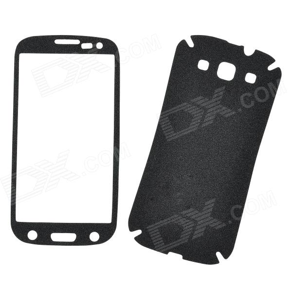 Protective PVC Front + Back Screen Protector Sticker Set for Samsung i9300 - Black