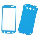 Protective PVC Front + Back Screen Protector Sticker Set for Samsung i9300 - Blue