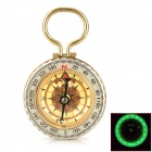 "G50B 1.5"" Glow-in-the-Dark Stainless Steel Compass w/ Damping Oil - Golden"