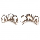 Feather Style Makeup Fake Eyelashes Set - White + Brown (1 Pair)