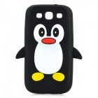Cute Penguin Pattern Protective Silicone Back Case for Samsung Galaxy S3 i9300 - Black