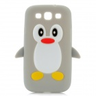 Cute Penguin Pattern Protective Silicone Back Case for Samsung Galaxy S3 i9300 - Grey