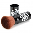 Makeup Rotating Retractable Loose Powder Blush Brush - Black + White + Brown