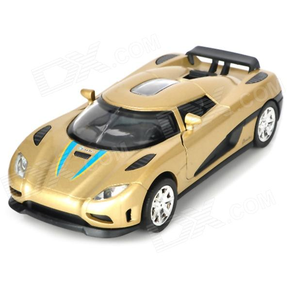 Multifunction Aluminum Alloy Pull Back Car Toy - Golden + Black (3 x LR1130)