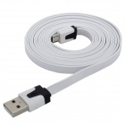 USB Male to 5-Pin Micro USB Male Flat Charging / Data Cable - White (200cm)