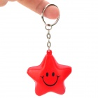 Cute Five-Pointed Star Smiley Face Style Keychain - Red