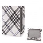 Karomuster PU Protective Leather Case für iPad 2 / New iPad - Weiß + Grau