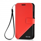 Protective PU Leather + PC Case for Samsung i9300 - Red + Black