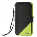 Protective PU Leather + PC Case for Samsung i9300 - Black + Green