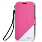 Protective PU Leather + PC Case for Samsung i9300 - Pink + White
