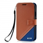 Protective PU Leather + PC Case for Samsung i9300 - Brown + Deep Blue