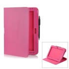 Protective PU Leather Case w/ Stylus Pen for Samsung Galaxy Note 10.1 GT-N8000 - Deep Pink