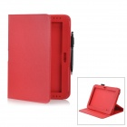 Protective PU Leather Case w/ Stylus Pen for Samsung Galaxy Note 10.1 GT-N8000 - Red