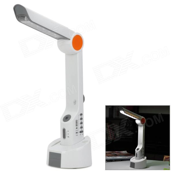 Hand-Crank Dynamo + Solar Powered 15-LED White Light Flashlight w/ Radio / Alarm - White