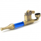Zinc Alloy Cigarette Tobacco Smoking Pipe w/ Butane Gas Lighter - Coppery + Blue