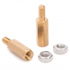 Brass Threaded Stand-Off Hex Screw Pillars w/ Nuts (M3 x 12mm + 6 / 50 PCS)