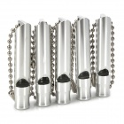 Mini Portable Aluminum Alloy Whistle with Chain - Silver
