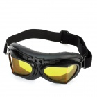 Folding Yellow PC Lens Safety Motorcycle Goggles - Black Frame