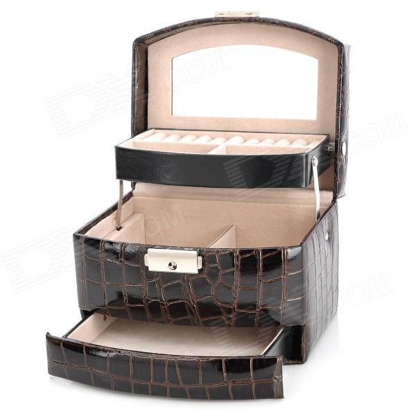 Alligator Pattern PU Leather 3-Layer Cosmetic Storage Bag - Coffee