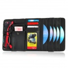 Multifunctional Genuine Leather Hanging Type CD DVD Card Holder - Black