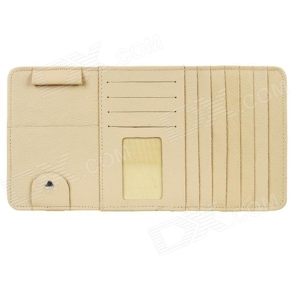 Multifunctional Genuine Leather Hanging Type CD DVD Card Holder - Beige цена и фото